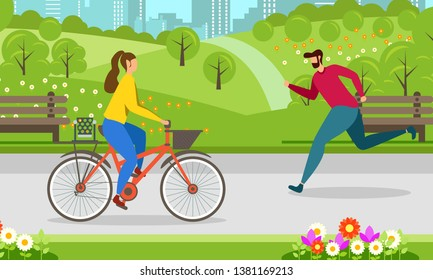 Morning Jogging Cycling in City Park Healthy Lifestyle Motivate Banner outdoor activity Vector Illustration Man Running and Woman Riding Bicycle Outside Fitness Exercise on Nature Workout Inspiration
