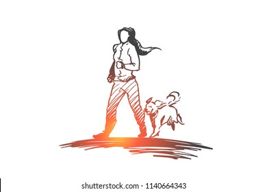 Morning jogging, walking, exercise, woman, activity concept. Hand drawn girl running with her dog concept sketch. Isolated vector illustration.