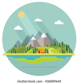 Morning landscape in the mountains. Solitude in nature by the river. Weekend in the tent. Hiking and camping. Vector flat illustration