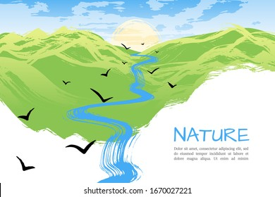 Morning landscape. Sunrise over hills. Flying birds. Typographic template for your text. Hand drawn style. Creative background. Vector illustration.