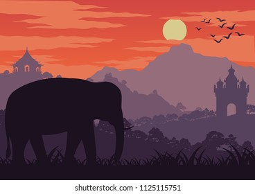 in the morning life, an elephant symbol of Thailand and Laos walk in wood near landmark,silhouette design and vintage color,vector illustration