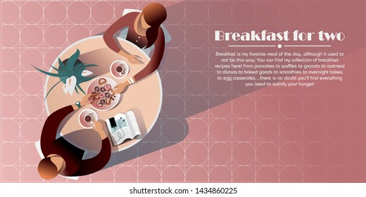 Morning meeting in a cafe. Top view vector mockup for a layout landing page or design advertising leaflet.