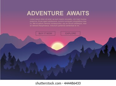 Morning mist Mountains Landscape Mountaineering and Traveling Vector Illustration.