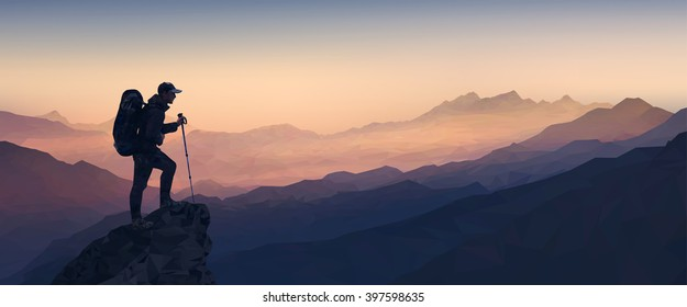 Morning mountain landscape with the silhouette of a climber. Low Poly