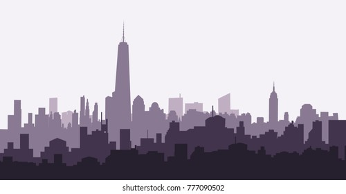 Morning New York skyline is a vector illustration.