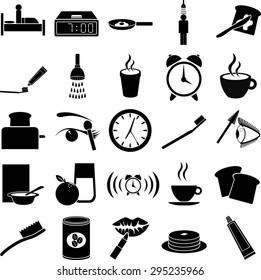 morning routine symbols set