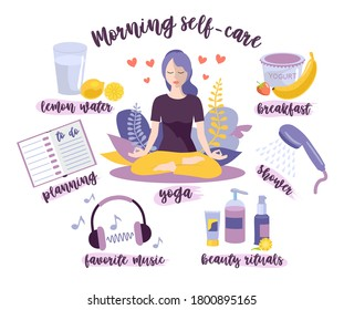Morning self-care. Woman self care concept.  Morning routine, home activity. A young girl doing her morning routine: yoga practice, drinking lemon water, shower, breakfast, beauty rituals, planning
