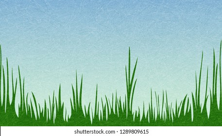 Morning at spring meadow. Green grass against the sky. The idyllic cartoonish picture of a warm summer day. Flat style, vector illustration with noise and texture, marble textured background.
