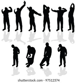 morning stretching and wear pajamas black vector silhouette
