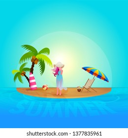Morning summer background with beautiful young girl on beach. Can be used as greeting card or poster design.