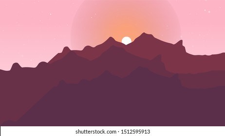 The morning Sunrise behind the mountains landscape