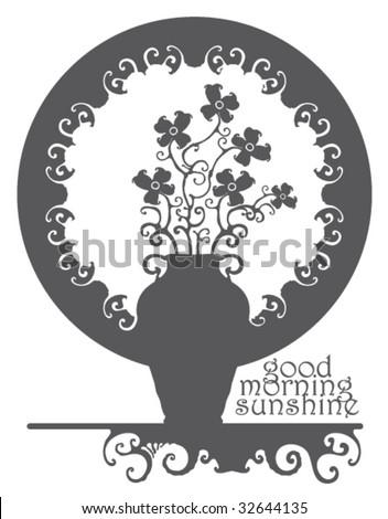 Morning Sunshine Rising Shining Illustration Grey Stock Vector
