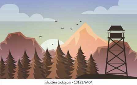 Morning view of the autumn forest landscape. Sunrise and view of the forest rescuer's observation tower.