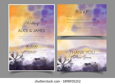 morning wedding invitation with mountain scenery watercolor background