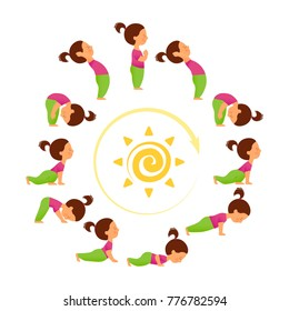 Morning yoga. Set of sun salutation exercises. Surya namascar asana sequence. Cute cartoon character in different asanas.
