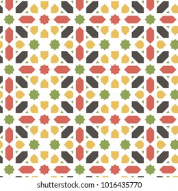 Moroccan abstract pattern. Colorful islamic tile. Zellige background. colorful vector illustration.