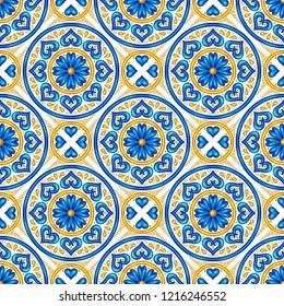Moroccan ceramic tile seamless pattern. Ethnic floral motifs. Mediterranean traditional folk ornament. Portuguese azulejo, mexican talavera or spanish majolica.
