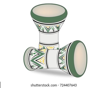 Moroccan drum with green and yellow color