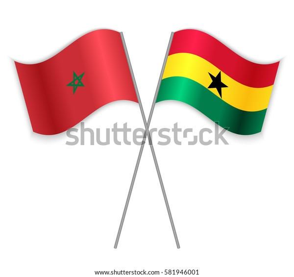 Moroccan and Ghanaian crossed flags. Morocco combined with Ghana isolated on white. Language learning, international business or travel concept.