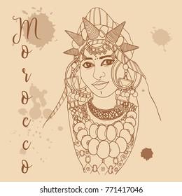 Moroccan girl retro style travel poster postcard hand drawn sketch