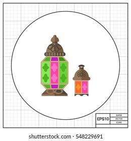 Moroccan glass lantern vector icon