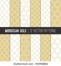 Moroccan Lattice Patterns in Gold Champagne and White. Modern Elegant Neutral Backgrounds. Classic Quatrefoil Trellis Ornament. Vector Pattern Tile Swatches Included.