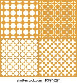 Moroccan lattice seamless patterns set, vector