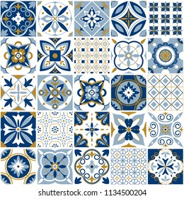 Moroccan pattern. Decor tile texture print mosaic oriental pattern with blue ornament arabesque. Traditional arabic and indian pottery tiling seamless patterns fabric wall interior cloth vector set