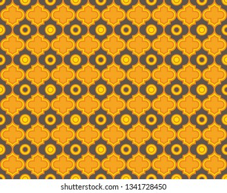 Moroccan Quatrefoil Seamless Pattern In Turquoise And Gold. Mosaic Motif Ogee For Ethnic Background. Suitable For Decorating Baby Shower Card, Wedding, Surface Design, Fabrics, Textiles Wrapping Paper