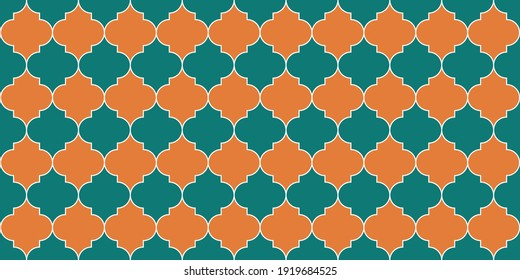 Moroccan Seamless Mosaic Texture. Eid Mubarak Muslim Decoration. Traditional Ramadan Golden Mosque Motif. Ramadan Kareem Islam Illustration. Seamless Moroccan Ornament Turkish Mosque Window Shape.