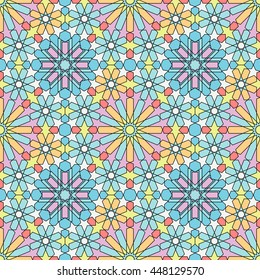 Moroccan seamless pattern. Colorful islamic tile. Zellige background. Marrakesh vector illustration.