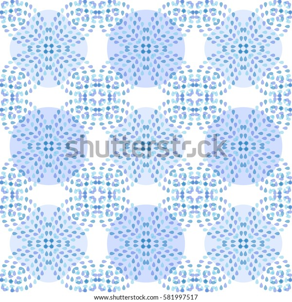 Moroccan style ceramic tile with geometric pattern. Water drops print on surface. Light blue.
