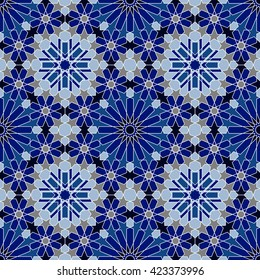 Moroccan tile texture. Islamic seamless pattern. Oriental background. Mediterranean wallpaper.