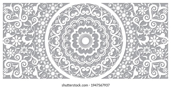 Moroccan vector openwork mandala design in recatangle DL format, inspired by the old carved wood wall art patterns from Morocco  Elegant Moorish background, Arabic decorative wooden wall panel art