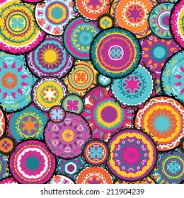 Moroccan vector pattern | Colorful eastern seamless pattern with circles and hand-painted shapes