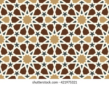 Morocco Arabic Pattern. Traditional Islamic Design Background. Brown, ocher, black, white colors