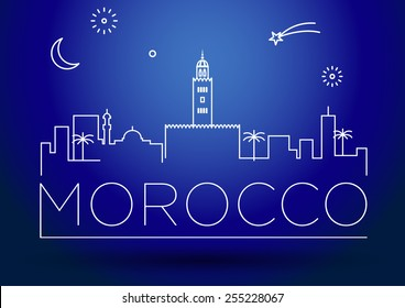 Morocco City Line Silhouette Typographic Design