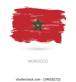 Morocco colorful brush strokes painted national country flag icon. Painted texture.