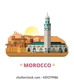 Morocco country magnet design template. Flat cartoon style historic sight showplace web site vector illustration. World vacation travel sightseeing Africa African collection. Hassan II Mosque Tamdaght