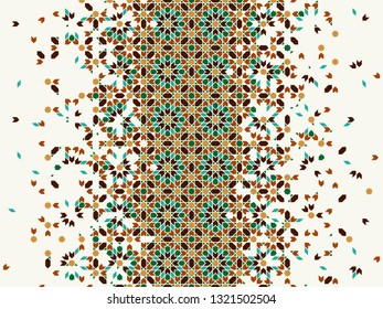 Morocco disintegration template based on geometric islamic mosaic design. Tile repeating vector border. Abstract background.