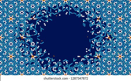 Morocco Disintegration Template.  Breaking, flying away islamic mosaic. Modern Abstract Background.