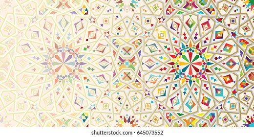 Morocco Disintegration Template. Islamic Mosaic Design. Abstract Background