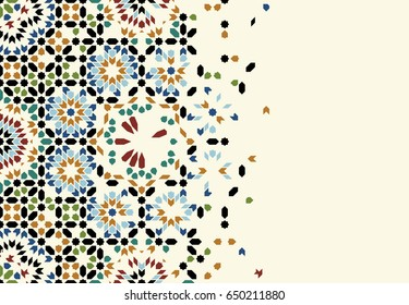 Morocco Disintegration Template. Islamic Mosaic Abstract Background.