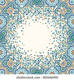 Morocco Disintegration Template. Traditional Islamic Mosaic Design. Abstract Background.