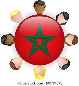 Morocco Flag Button Teamwork People Group - Vector