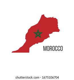 Morocco flag map. The flag of the country in the form of borders. Stock vector illustration isolated on white background.