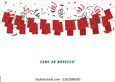 Morocco garland flag with confetti on white background, Hang bunting for Morocco celebration template banner.