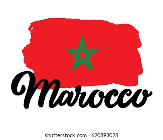 "Morocco hand drawn ink brush lettering with the national flag of the country. Calligraphy word ""Marocco"". Morocco national symbol"