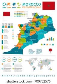 Morocco infographic map and flag - vector illustration
