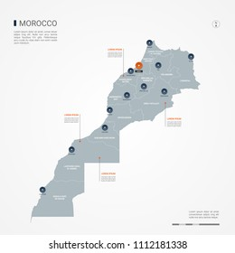 Morocco map with borders, cities, capital Rabat and administrative divisions. Infographic vector map. Editable layers clearly labeled.
